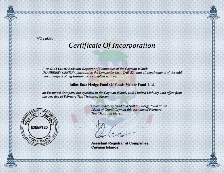 Julius Baer Hedge Fund Of Funds Master Fund  Ltd.