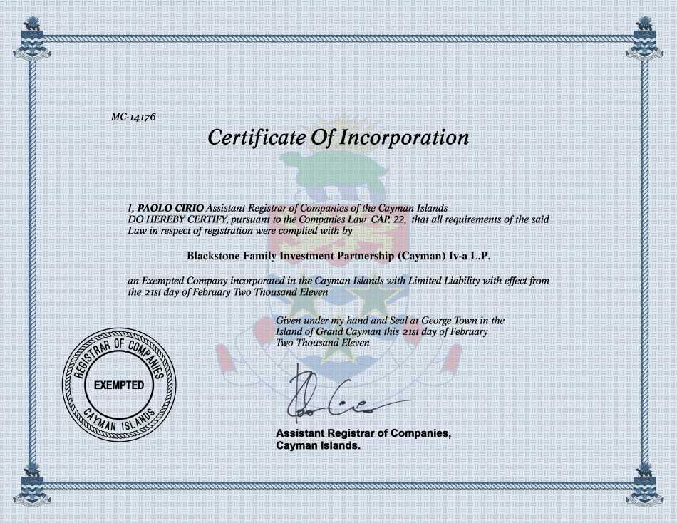 Blackstone Family Investment Partnership (Cayman) Iv-a L.P.