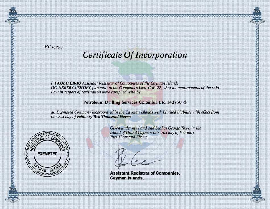 Petroleum Drilling Services Colombia Ltd 142950 -S