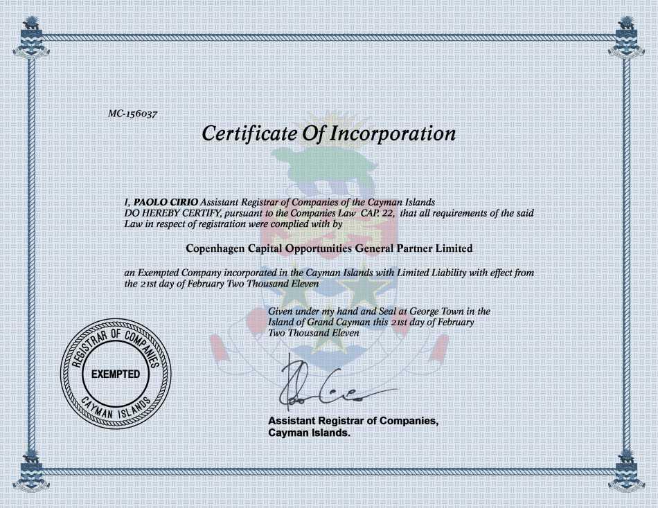 Copenhagen Capital Opportunities General Partner Limited