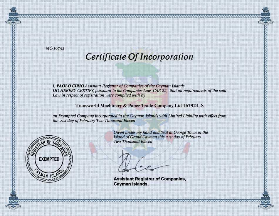 Transworld Machinery & Paper Trade Company Ltd 167924 -S