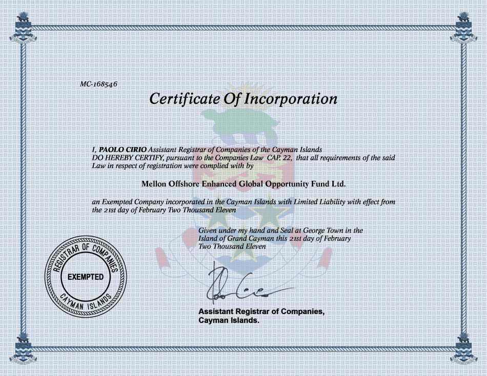 Mellon Offshore Enhanced Global Opportunity Fund Ltd.