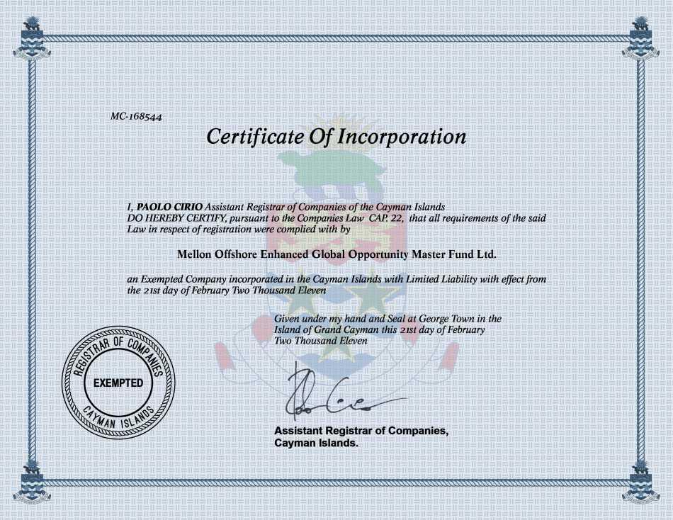 Mellon Offshore Enhanced Global Opportunity Master Fund Ltd.