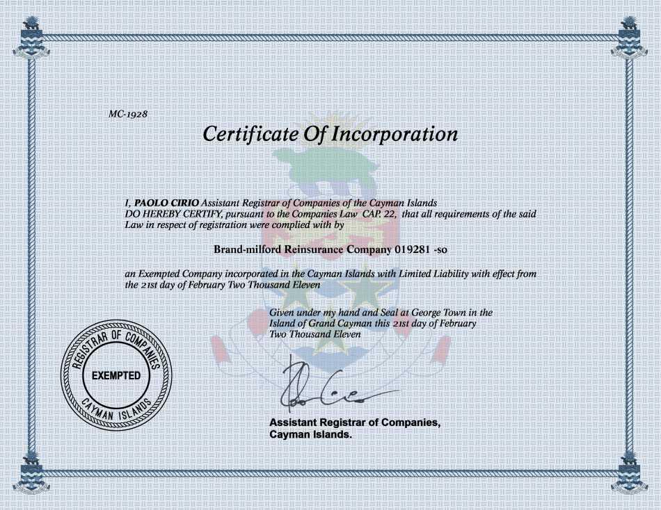 Brand-milford Reinsurance Company 019281 -so