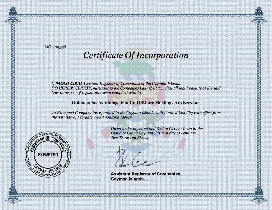 Goldman Sachs Vintage Fund V Offshore Holdings Advisors Inc.