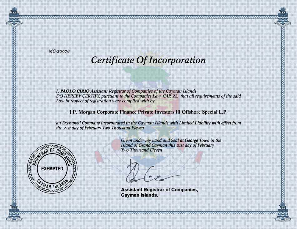 J.P. Morgan Corporate Finance Private Investors Iii Offshore Special L.P.