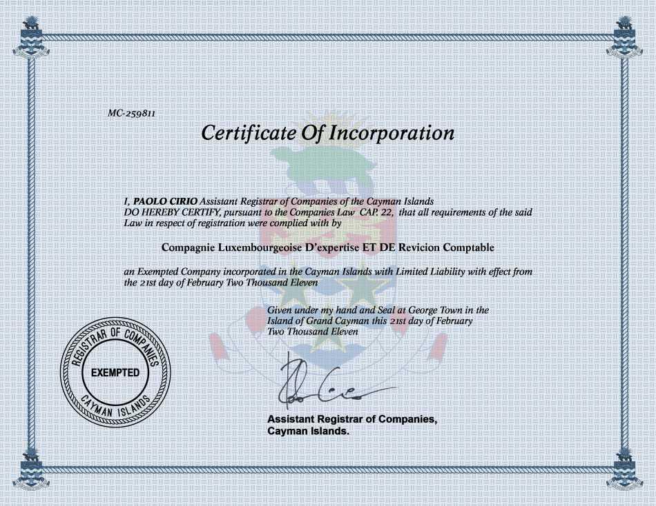 Compagnie Luxembourgeoise D'expertise ET DE Revicion Comptable