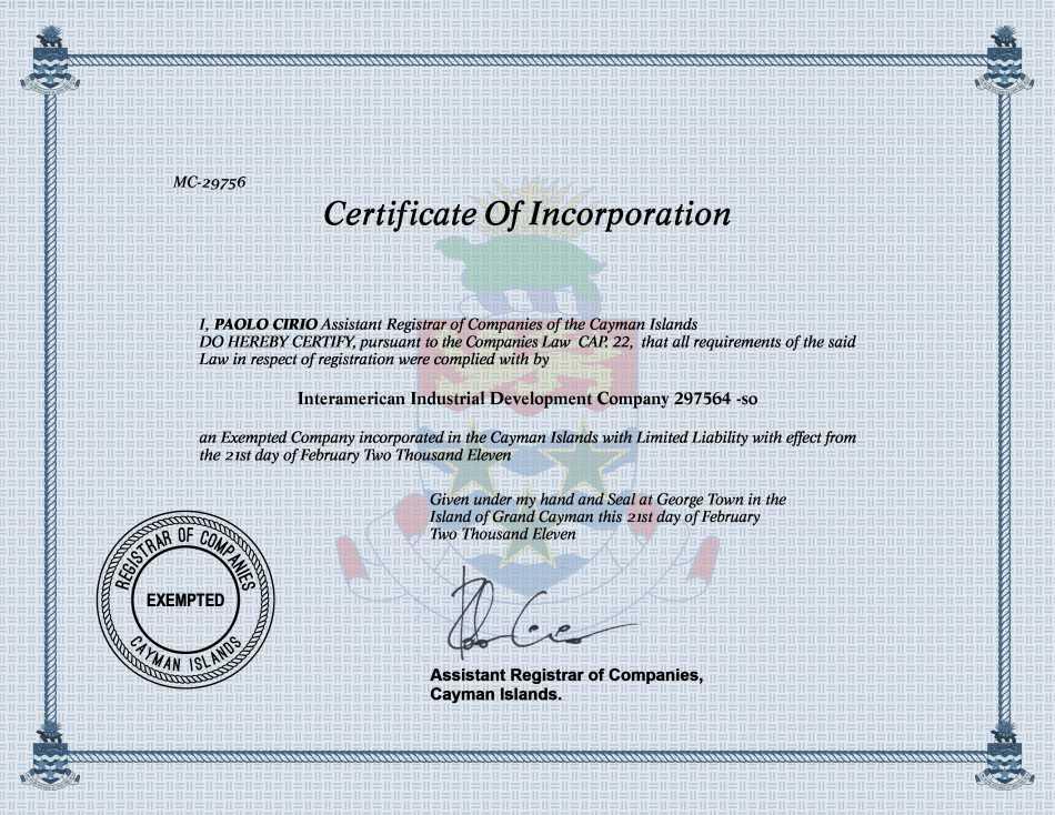Interamerican Industrial Development Company 297564 -so