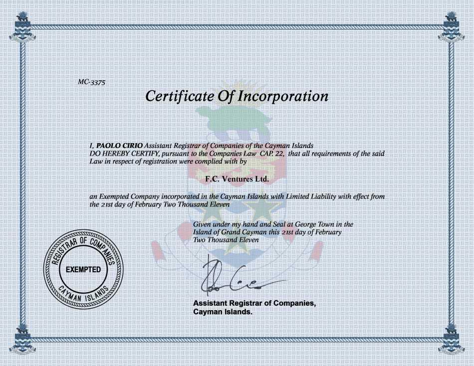 F.C. Ventures Ltd.