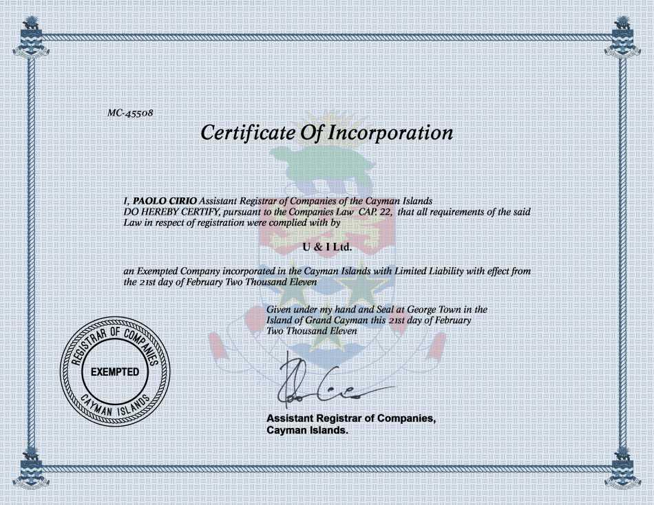 U & I Ltd.