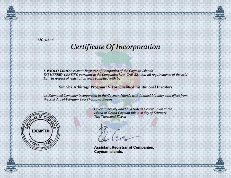 Simplex Arbitrage Program IV For Qualified Institutional Investors