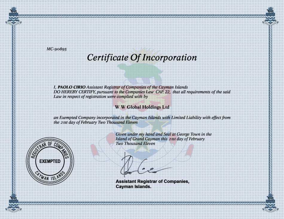 W W Global Holdings Ltd